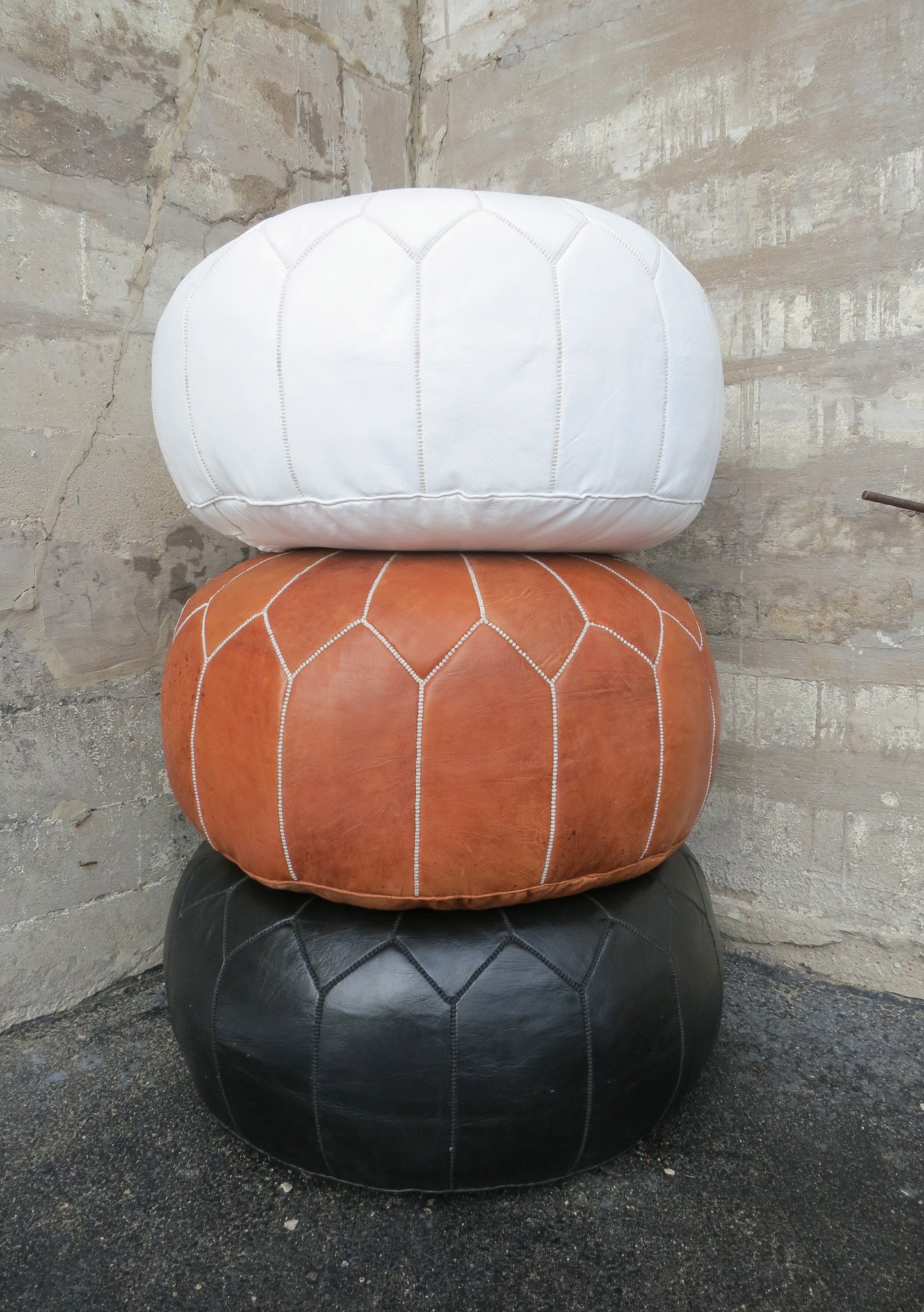'GENIE IN THE LAMP' MOROCCAN LEATHER OTTOMAN - Maven Collection