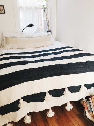 'WHITE STRIPES'  BERBER WOOL BLANKET