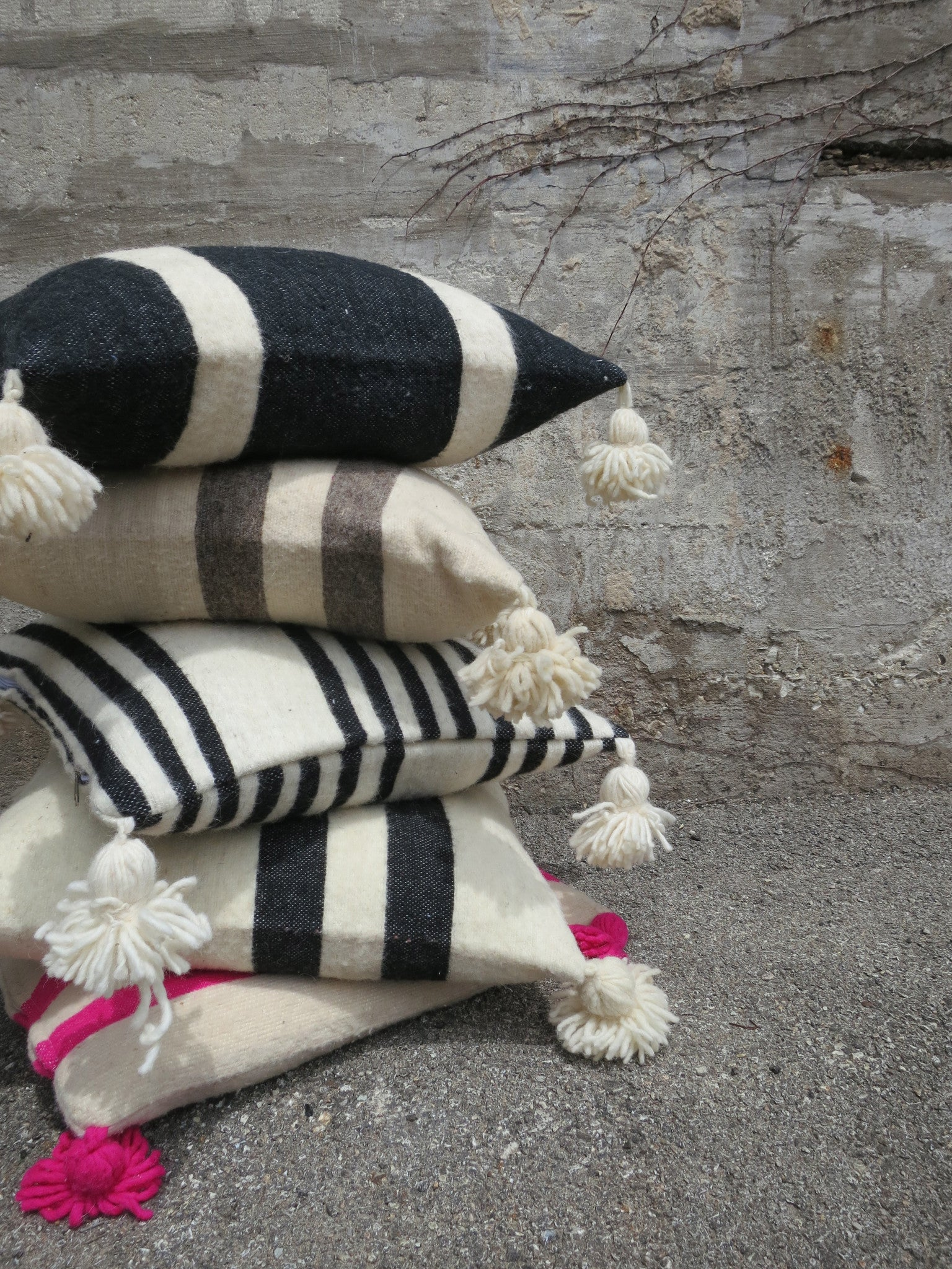 'Cookies 'N Cream'  Moroccan Pom Pom Pillow - Maven Collection