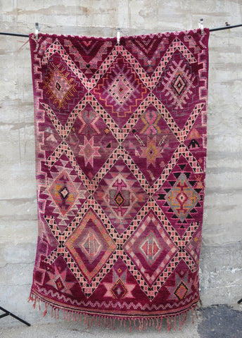 'RUBY RED DIAMONDS'  VINTAGE  AZILAL RUG