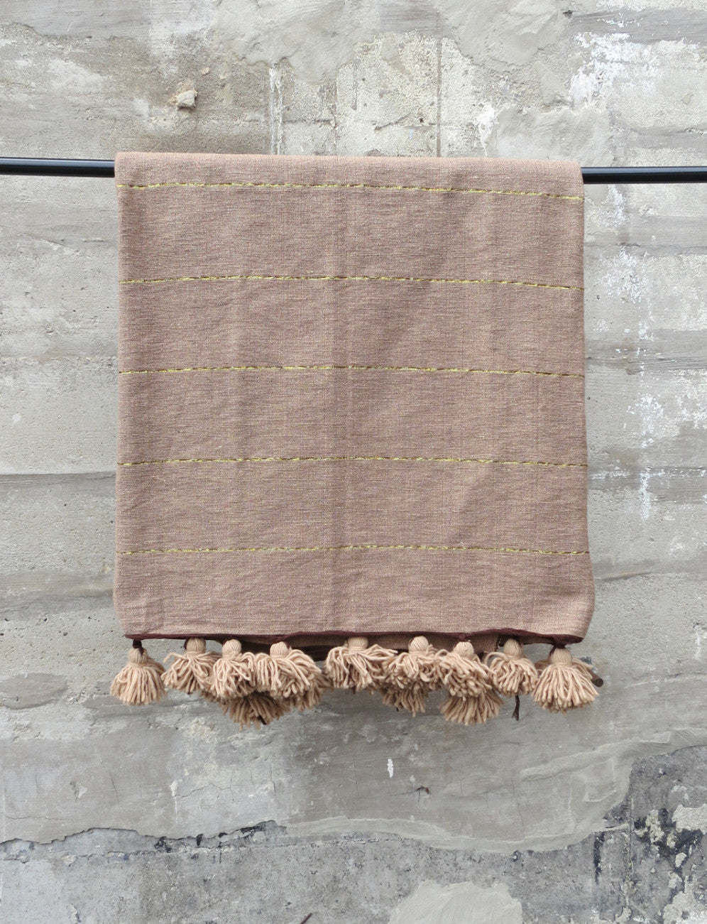 'Mocha'  Moroccan Pom Throw