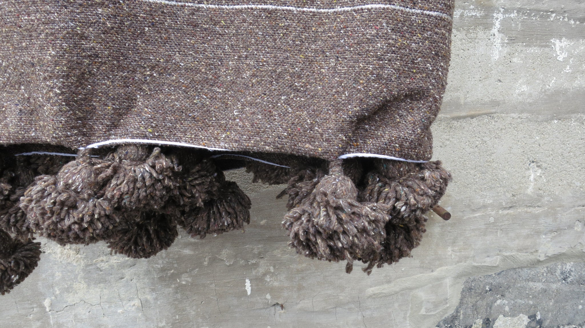 'Brown Bear' Cotton Pom Pom Blanket - Maven Collection
