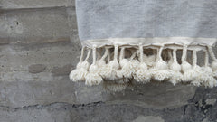 'Grey Skies' Moroccan Pom Blanket - Maven Collection