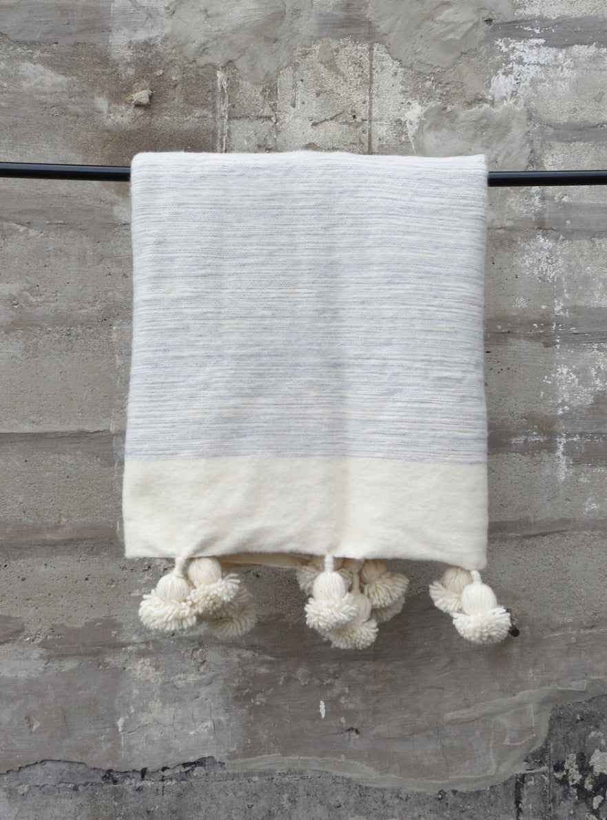 'Baby Blues' Moroccan Pom Blanket - Maven Collection
