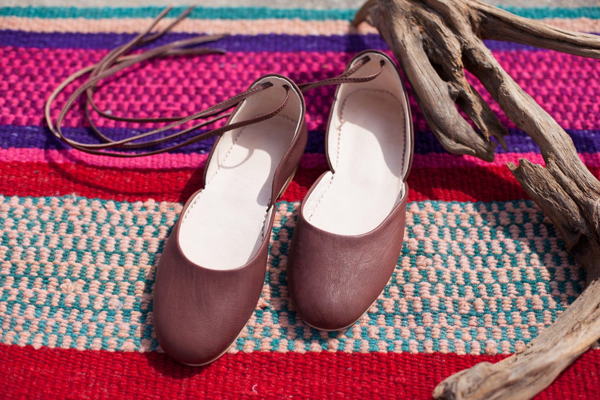 'MOROCCAN BALLET'  ANKLE TIE FLATS - Maven Collection