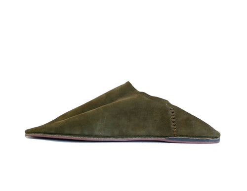 OLIVE SUEDE BABOUCHE SLIPPERS