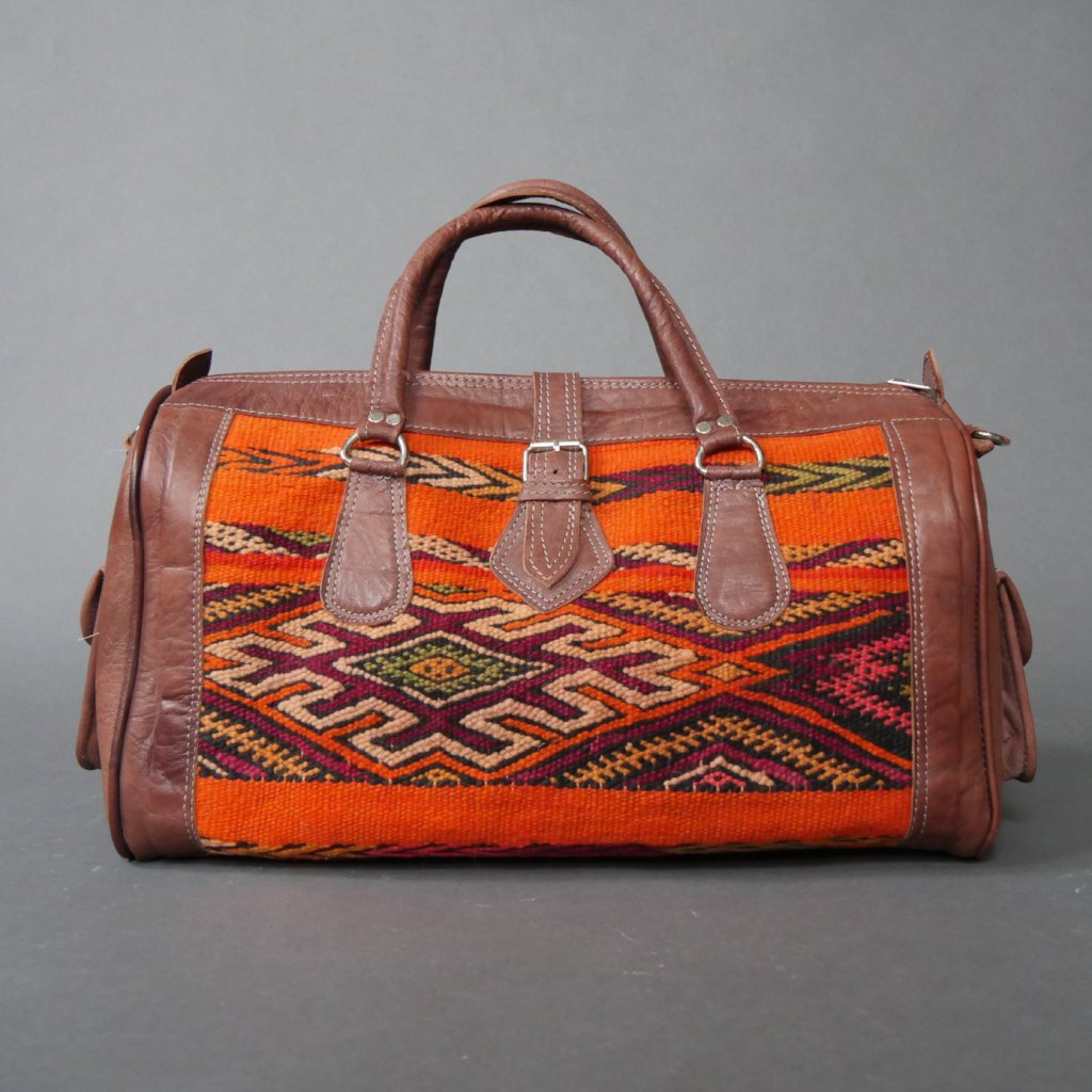 'ORANGE THEORY'  MOROCCAN KILIM BAG - Maven Collection
