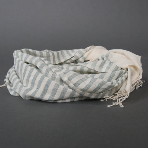 'OCEAN DEEP'  STRIPED WOVEN MOROCCAN SCARF - Maven Collection