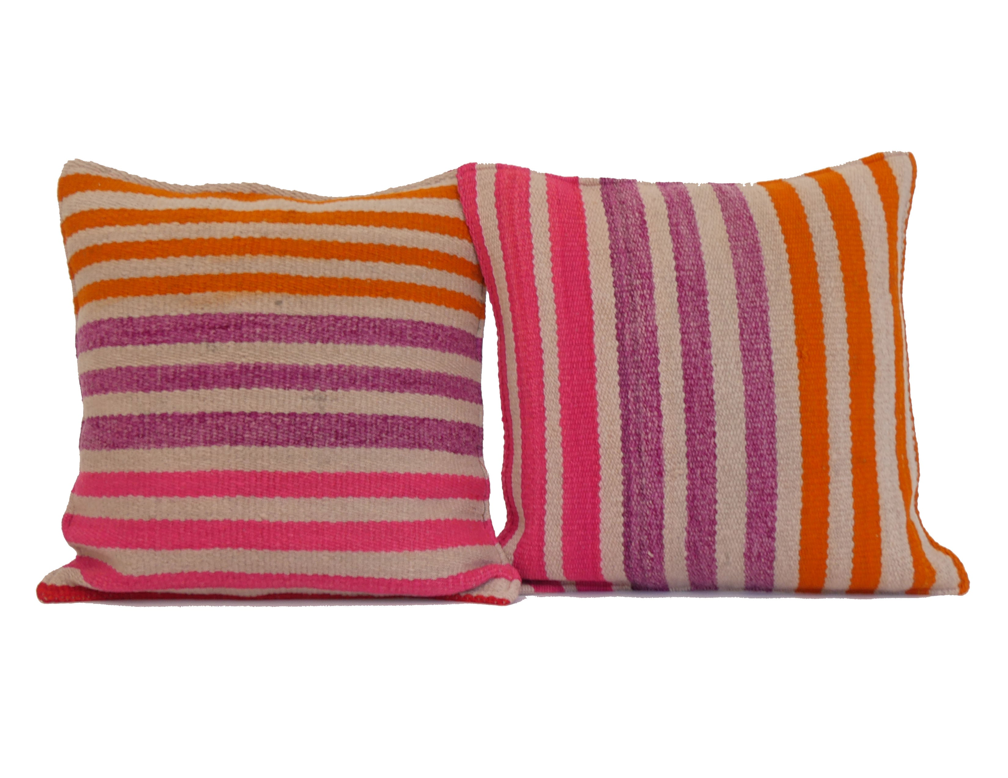 'Strawberry Margarita' Peruvian Frazada Pillow Pair