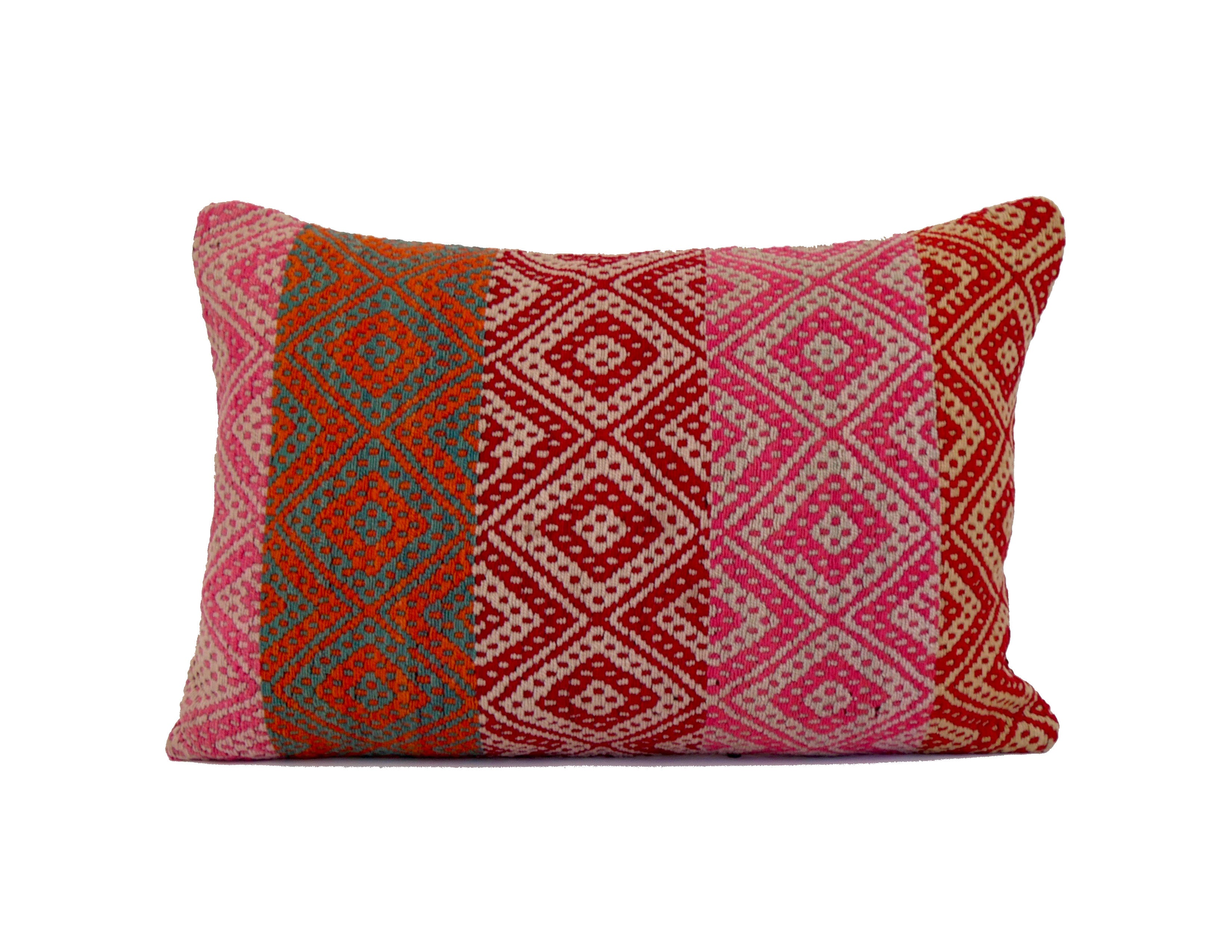 'I Stop For Red' Peruvian Frazada Lumbar Pillow