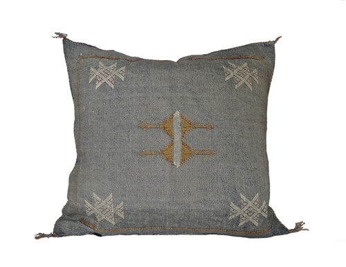 'Denim'  Moroccan Sabra Silk Pillow