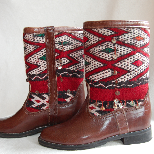 'RUBY RED DIAMONDS'  KILIM BOOTS - Maven Collection