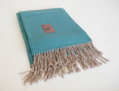 Turquoise with Cream Fringe Peruvian Throw