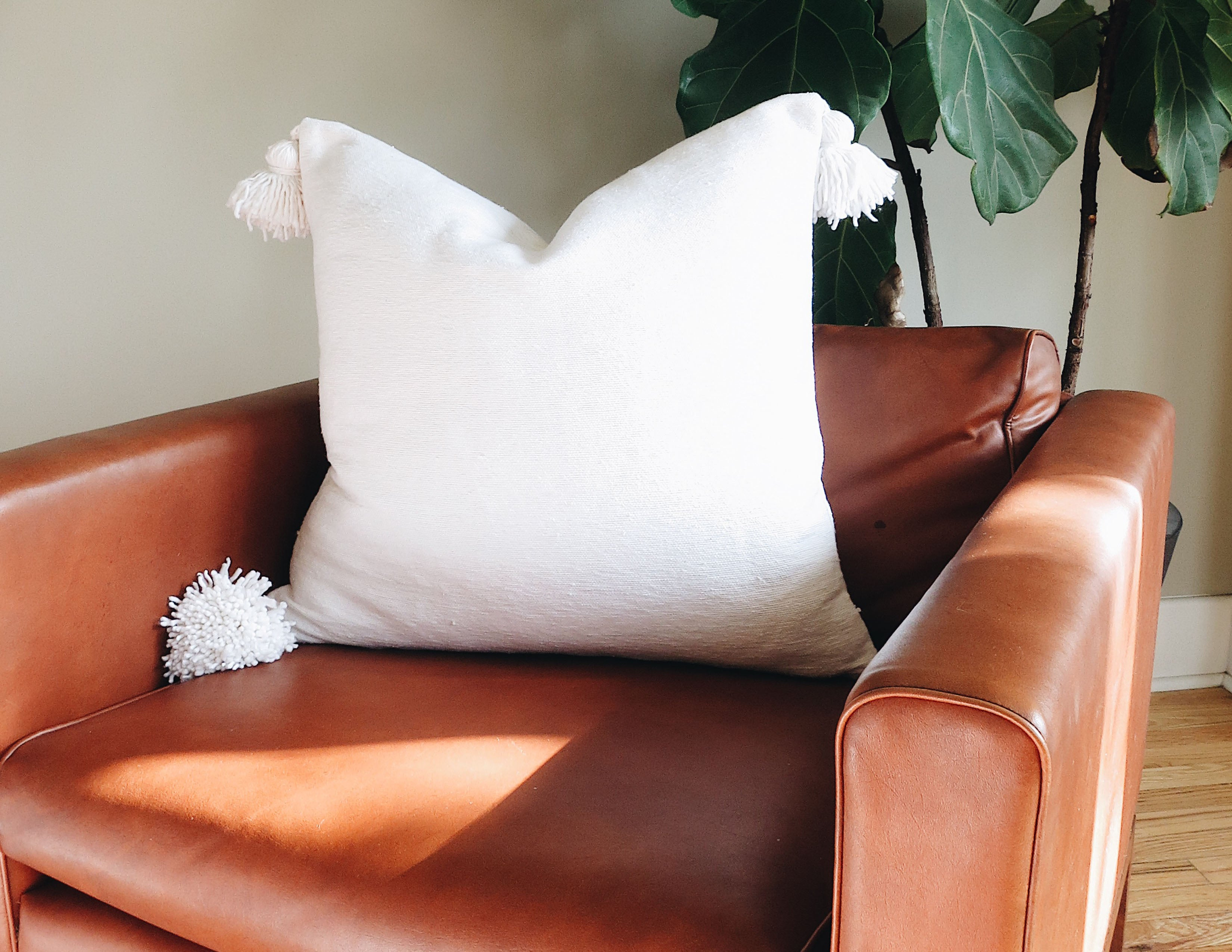 'Le Blanc'  Moroccan Pom Pom Pillow