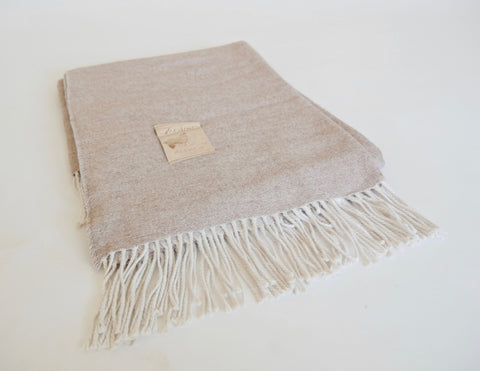 Peachy Tan with Cream Fringe Peruvian Throw