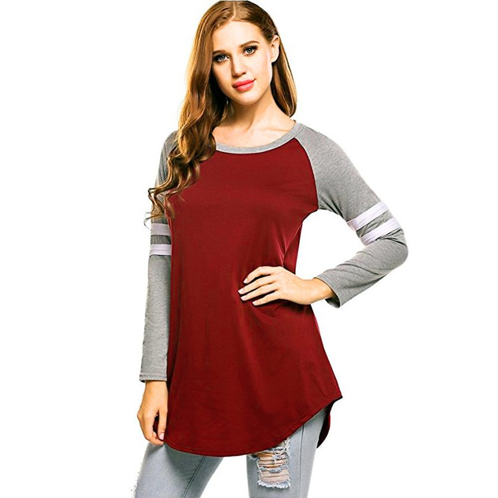 Women Baseball Autumn Long Sleeve T-Shirt Sweatshirts Blouse Tops