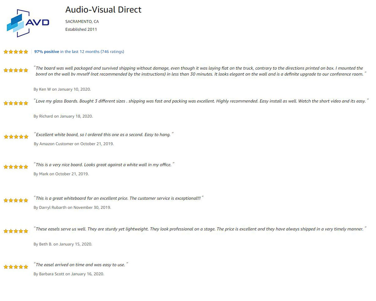 Amazon Customer Reviews For Audio-Visual Direct