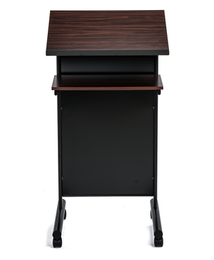 Front Facing wheeled black lectern