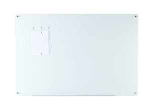"3' x 4' (36"" x 48"") Bright White Glass Dry Erase Board Wall Mounted"