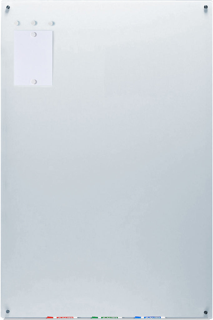 Magnetic White Glass Dry-Erase Board Set - Includes Board, Magnets, and Marker Tray