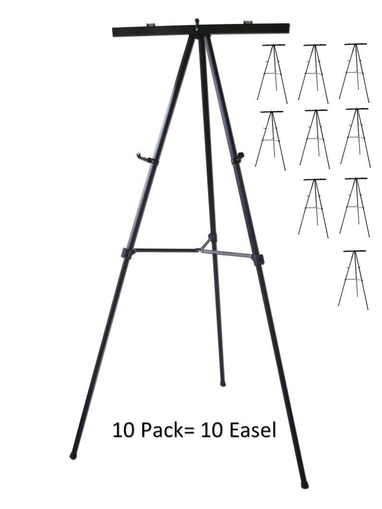 Pack of 10-Lightweight Aluminum Flip-Chart Presentation Easel, Black (10 pack)