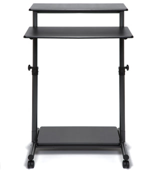 Standing Black Desk with lockable wheels