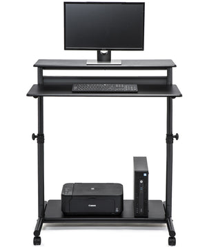standing desk with computer screen on top and cpu on bottom shelf