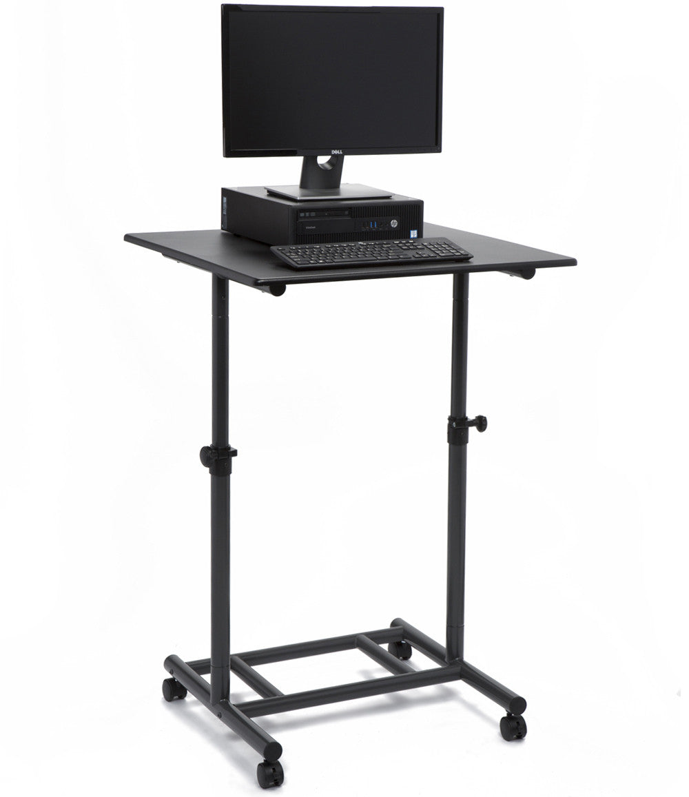 Black Ergonomic Standing Desk Height Adjustable with lockable casters