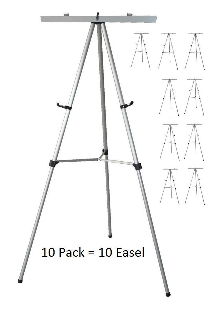 Pack of 10 Lightweight Aluminum Flip-Chart Presentation Easel, Silver (10 pack)