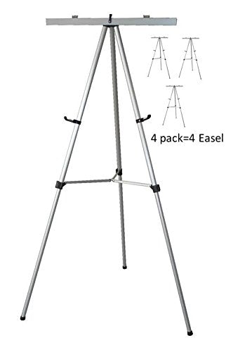 Pack of 4-Lightweight Aluminum Flip-Chart Presentation Easel, Silver (4 Pack)