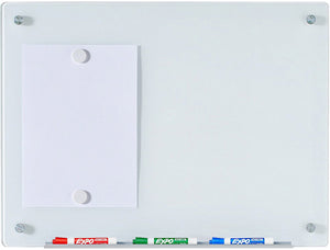 Wall Mounted Magnetic White Tempered Glass Board with 2 Neodymium Magnets and Marker tray with markers.