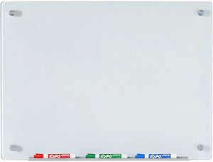 "24"" x 36"" ( 2' x 3') White Glass Dry Erase Boards with Marker Tray"