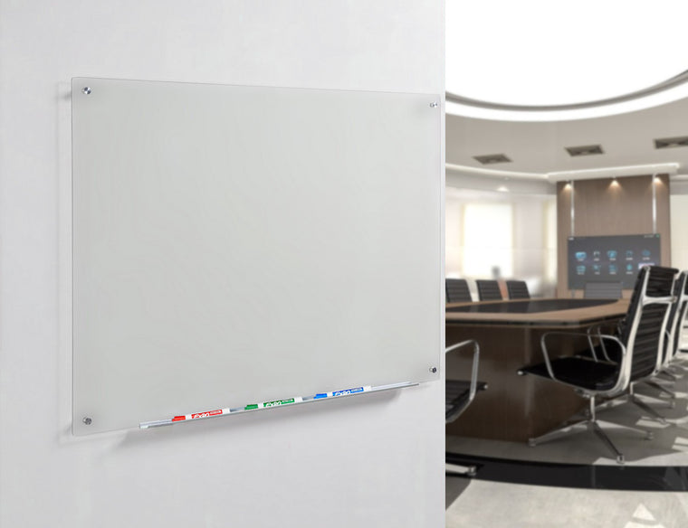 Frosted Glass Dry Erase Board Wall Mounted In a Commercial Office Setting