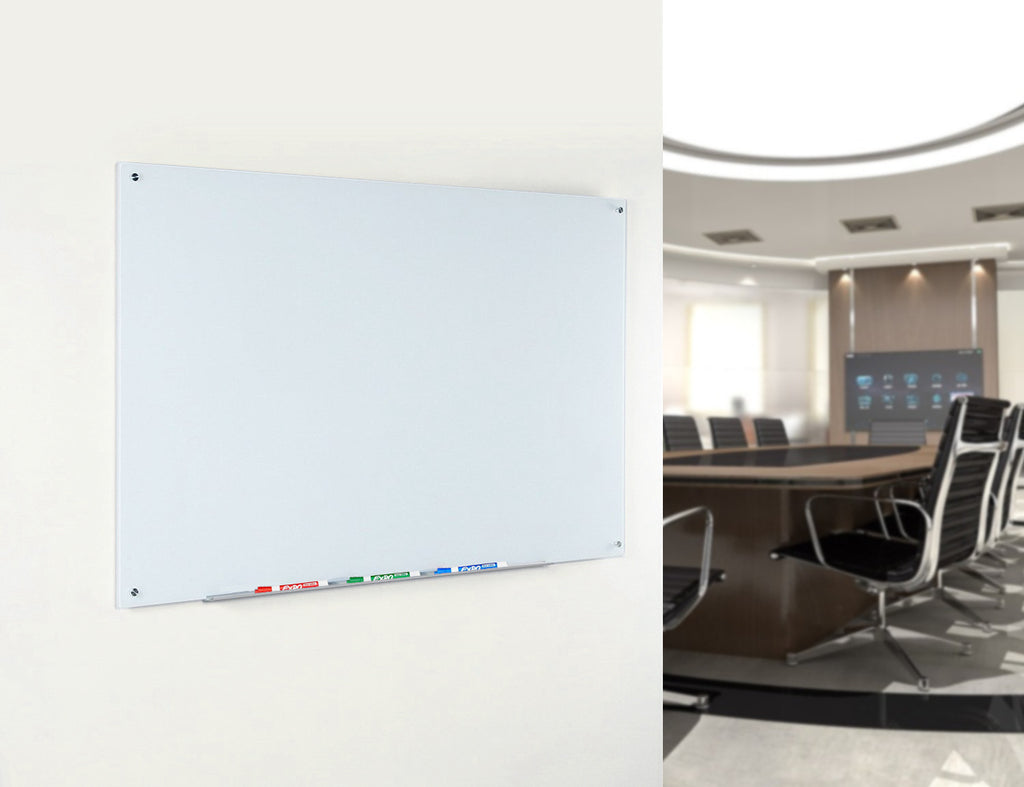 Ultra White Magnetic Glass Board In a Commercial Office Setting