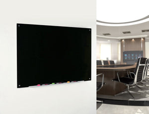 Magnetic Black Glass Dry Erase Board in a Commercial Office Setting