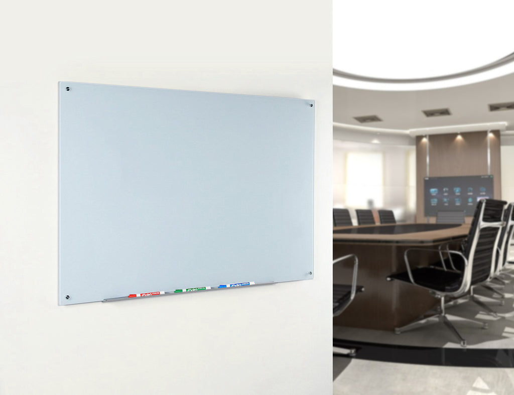 White Glass Dry-Erase Board - Includes Board and Aluminum Marker Tray