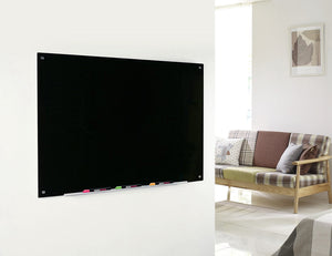Magnetic Black Glass Dry Erase Board in a Home Setting