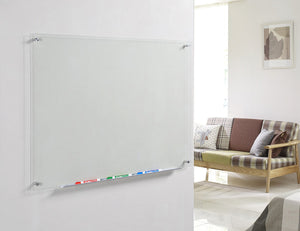 Clear Glass Dry-Erase Board with Aluminum Marker Tray