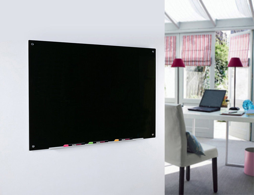 Black Glass Dry Erase Board Wall Mounted in Home Office