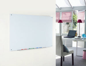 "4' x 8' (48"" x 96"") Ultra White wall mounted board in a home office setting"
