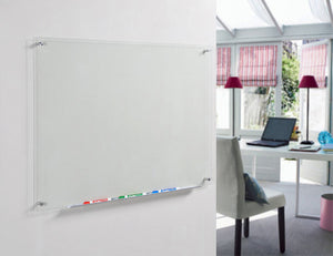 Clear Transparent Glass Dry Erase Board Wall Mounted in a home office