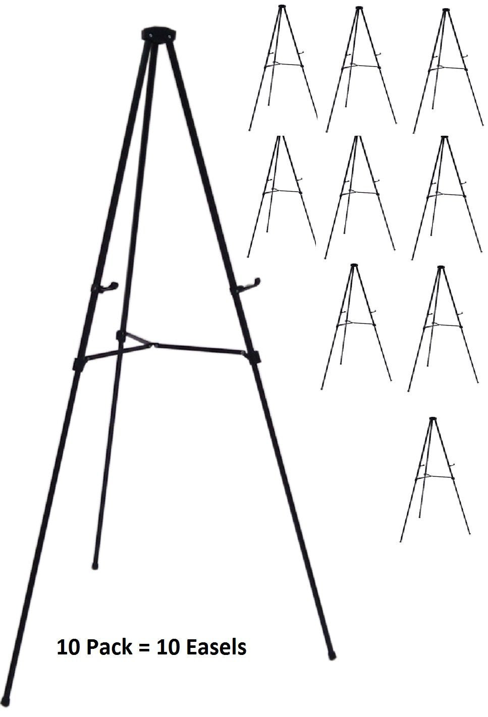 Pack of 10 Lightweight Aluminum Telescoping Display Easel, Black (10 pack)