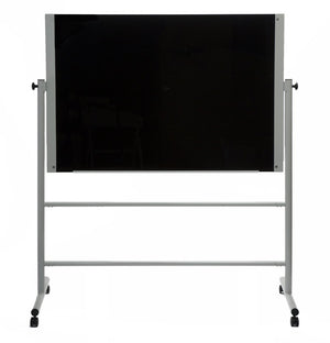 Large Black Glass Dry Erase Board on Portable Rolling Stand
