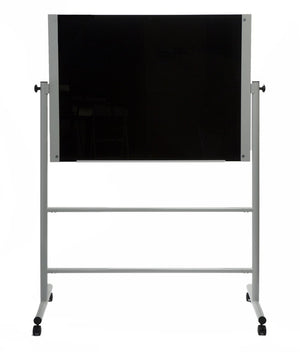 Black Glass Dry Erase Board on a rolling stand
