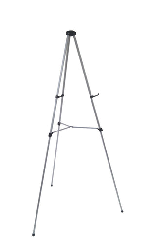 Pack of 4 Lightweight Aluminum Telescoping Display Easel, Silver (4 pack)