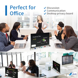 Audio-Visual Direct Glass Dry-Erase Board Divider for Desktop
