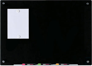 "Black Glass Dry Erase Board 3' x 4' (36"" x 48"") wall mounted with magnets and markers"