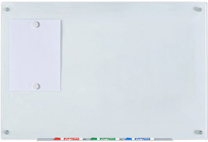 "2' x 3' (24"" x 36"") Frame-less Tempered Glass White Dry Erase Board Wall Mounted with magnets"