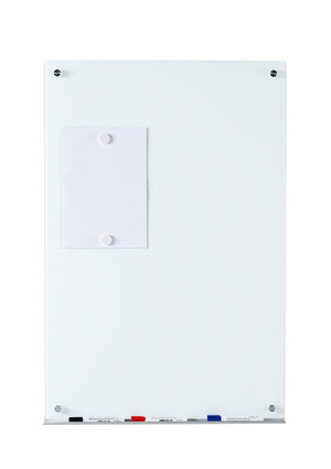 Vertically Ultra White Wall Mounted Tempered Glass Dry Erase Board