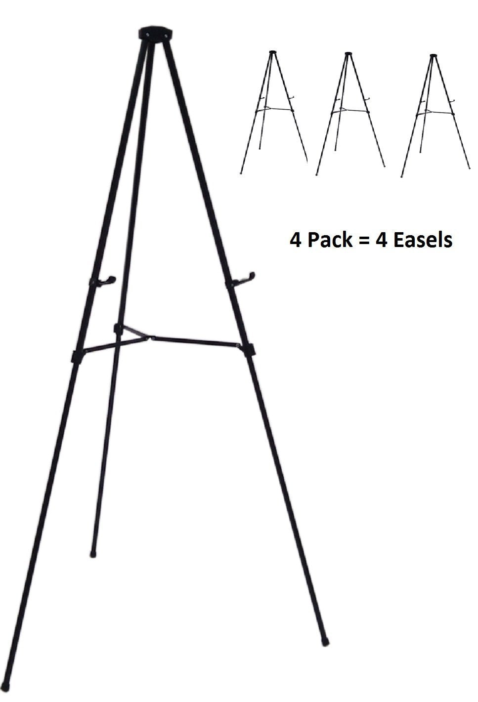 Pack of 4 Lightweight Aluminum Telescoping Display Easel, Black (4 pack)